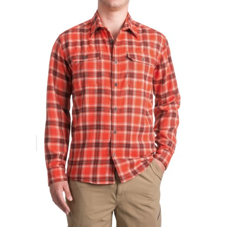 Allen Fly Fishing Exterus Hearthstone Flannel Shirt - UPF 50+, Long Sleeve (For Men) in Red