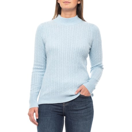 Image of Allover Cable-Knit Shirt - Mock Neck, Long Sleeve (For Women)