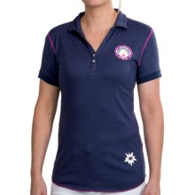 Alp-N-Rock Modal-Cotton Polo Shirt - Short Sleeve (For Women) in Navy/Pink W/Purple Badge - Closeouts