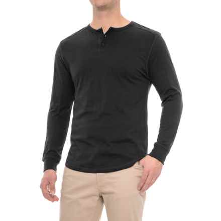 Alpha Beta Henley Shirt - Long Sleeve (For Men) in Black - Overstock
