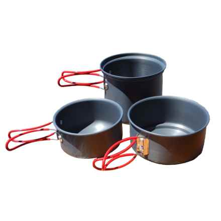 Alpine Mountain Gear Backpacker Hard Anodized Mess Kit - 3-Piece in Black - Overstock