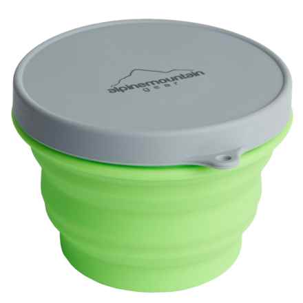 Alpine Mountain Gear Collapsible Silicone Container with Lid - Medium, 16 fl.oz. in Green - Closeouts