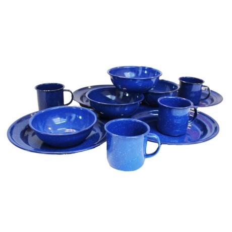 Alpine Mountain Gear Enamel Tableware Set - 4-Person in Blue
