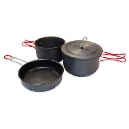 Alpine Mountain Gear Hard Anodized Camping Mess Kit - 3-Piece in Black - Overstock