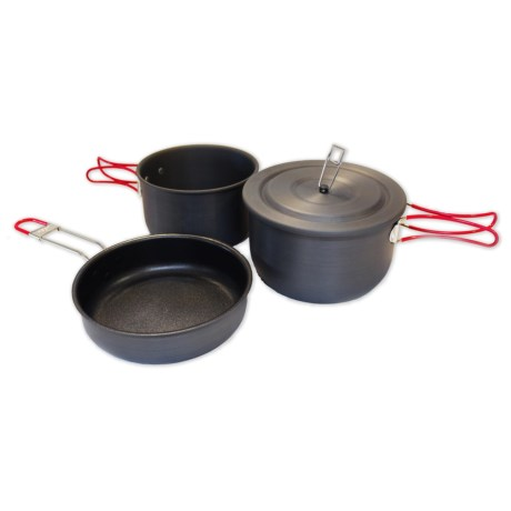 Alpine Mountain Gear Hard Anodized Camping Mess Kit - 3-Piece in Black