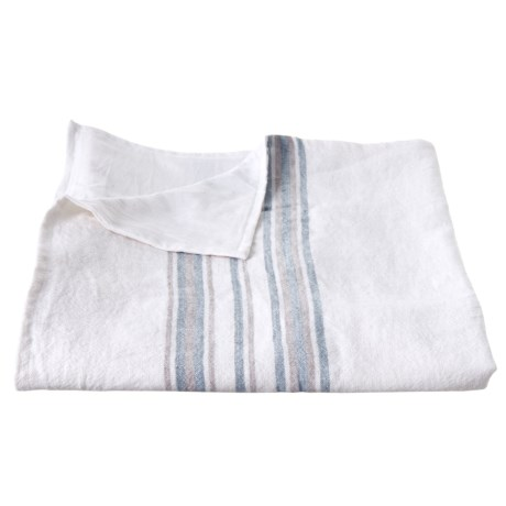 Image of Alpine White with Pale Ocean-Pewter Rustic Linen Throw Blanket - 50x60?