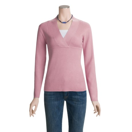ALPS Devon Cotton-Rich Sweater - Cross-Over V-Neck (For Women) in Prim Pink