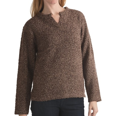 ALPS Emile Tweed Sweater - Notch Neck (For Women) in Brownstone