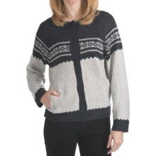 ALPS Folklore Cardigan Sweater - Hidden Snap (For Women) in Pearl Grey - Closeouts