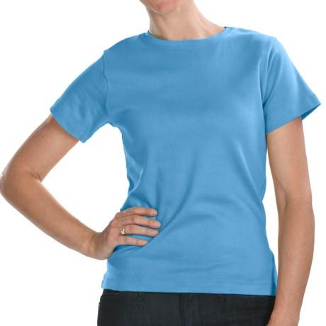 ALPS Jenna T-Shirt - Stretch Cotton, Short Sleeve (For Women) in Bimini Blue