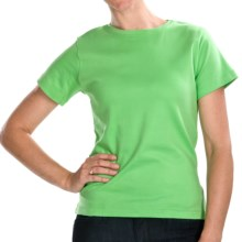 ALPS Jenna T-Shirt - Stretch Cotton, Short Sleeve (For Women) in Spring Green - Closeouts