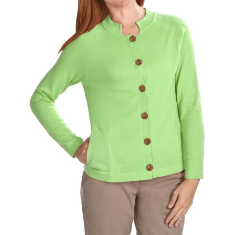 ALPS Kristen Cardigan Sweater - Cotton (For Women) in Spring Green