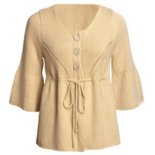 ALPS Lexi Scoop Neck Cardigan Sweater - 3/4 Bell Sleeve (For Women) in Linen - Closeouts