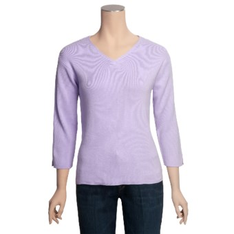 ALPS Rory Cotton Rib-Knit Sweater - V-Neck, 3/4 Sleeve (For Women) in Lilac