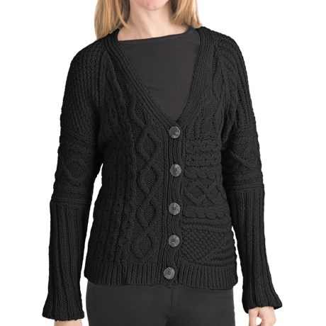 ALPS Spiritwood Knit Patchwork Cardigan Sweater - Cotton, Button Front (For Women) in Carbon
