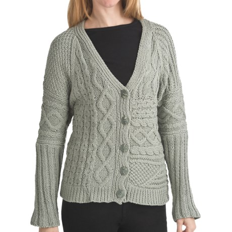 ALPS Spiritwood Knit Patchwork Cardigan Sweater - Cotton, Button Front (For Women) in Sage