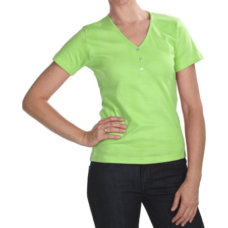 ALPS Tory T-Shirt - Stretch Cotton, Short Sleeve (For Women) in Spring Green