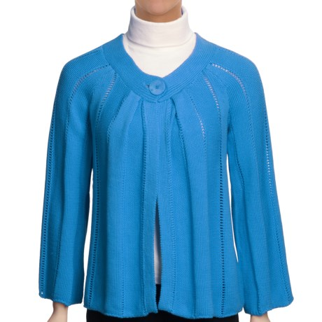 ALPS Trina Cotton Cardigan Sweater - 3/4 Sleeve (For Women) in Newport Blue