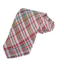 Altea Plaid Tie - Linen (For Men) in Brown - Closeouts