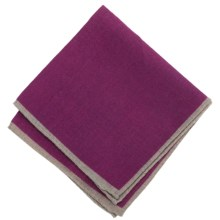 Altea Pocket Square with Contrast Edging - Wool (For Men) in Plum - Closeouts