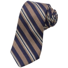 Altea Rodano Textured Silk Stripe Tie (For Men) in Tan - Closeouts