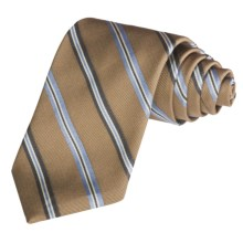 Altea Wide Stripe Tie - Silk-Cotton (For Men) in Tan - Closeouts