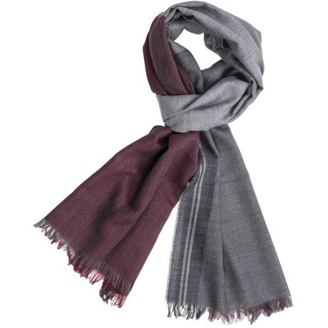 Altea Wool Color-Block Scarf (For Men) in Grey/Burgundy/Blue