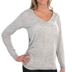 Alternative Apparel Burnout Jersey Knit T-Shirt - Deep V-Neck, Long Sleeve (For Women) in Oatmeal Heather