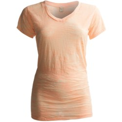 Alternative Apparel Burnout V-Neck T-Shirt - Short Sleeve (For Women) in Peach