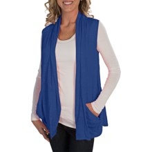 Alternative Apparel Cascading Open-Front Vest - Burnout Jersey Knit (For Women) in Blue - Closeouts