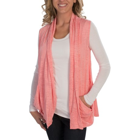 Alternative Apparel Cascading Open-Front Vest - Burnout Jersey Knit (For Women) in Coral