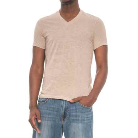 Alternative Apparel Feeder Stripe V-Neck T-Shirt - Short Sleeve (For Men) in Eco Sand/Eco Stone - Overstock