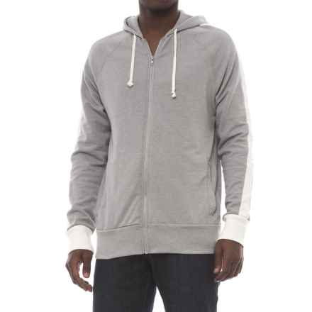 Alternative Apparel Franchise Stripe Vintage French Terry Hoodie (For Men) in Smoke Grey/Porcelain - Closeouts