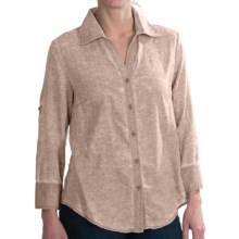 Alternative Apparel Heathered Button Shirt - Long Sleeve (For Women) in Peach - Closeouts