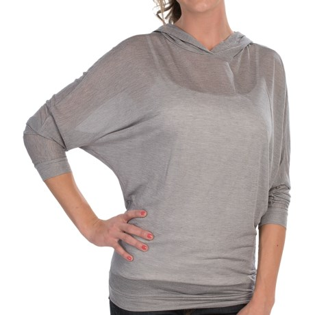Alternative Apparel Jersey Knit Hooded Shirt - Modal-Silk, Long Sleeve (For Women) in Grey