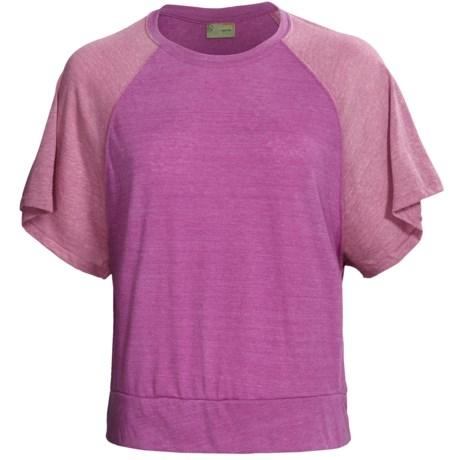 Alternative Apparel Oversized Raglan Crop Top - Short Sleeve (For Women) in Pink/Mauve