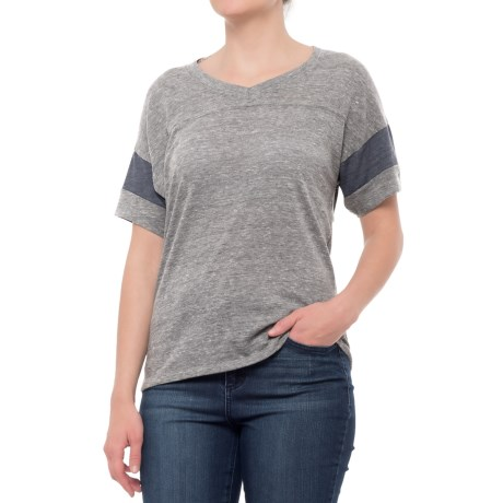 Alternative Apparel Powder Puff T-Shirt - V-Neck, Short Sleeve (For Women) in Grey/True Navy