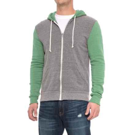 Alternative Apparel Rocky Color-Block Eco-Fleece Hoodie - Zip Front (For Men) in Eco Grey/Eco True Green - Overstock