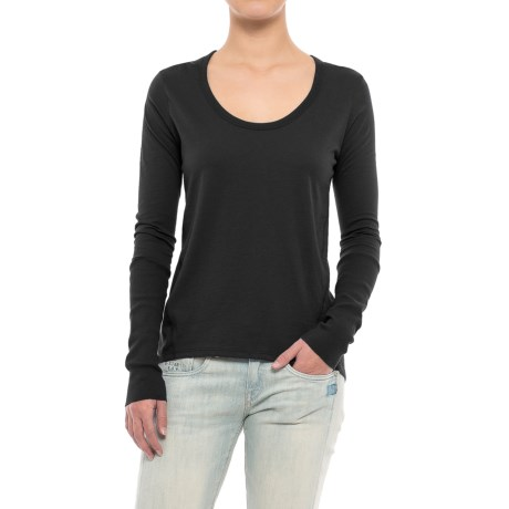 Alternative Apparel Satin Jersey T-Shirt - Long Sleeve (For Women) in Black