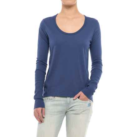 Alternative Apparel Satin Jersey T-Shirt - Long Sleeve (For Women) in Navy - Closeouts