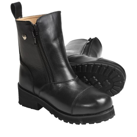 Altimate Double Zipper Motorcycle Boots - Leather (For Women) in Black