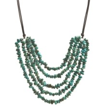 "Aluma USA 5-Strand Turquoise Chip Necklace - 18"" in Turquoise - Closeouts"