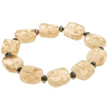 Aluma USA Artisan Glass Stretch Bracelet in Clear/Hemtite/Stainles - Closeouts
