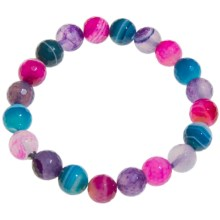 Aluma USA Faceted Agate Bracelet - Stretch in Multi Agate - Closeouts