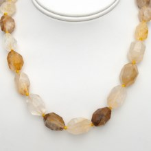 "Aluma USA Faceted Yellow Quartz Necklace - 18""+2"" in Yellow - Closeouts"