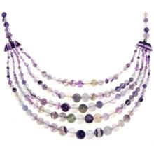 Aluma USA Fluorite 5-Strand Necklace - Adjustable in Flourite/Sterling Silver - Closeouts