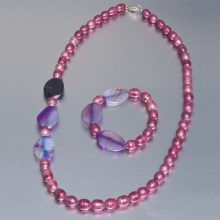 Aluma USA Freshwater Pearl and Agate - Necklace and Bracelet in Rose Fwp W/Purple Banded Agate - Closeouts