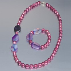 Aluma USA Freshwater Pearl and Agate - Necklace and Bracelet in Rose Fwp W/Purple Banded Agate