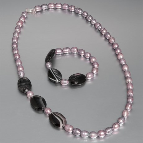 Aluma USA Freshwater Pearl and Agate - Necklace and Bracelet in Silver Fwp W/Black Banded Agate