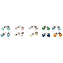 Aluma USA Freshwater Pearl Studs - Set of 10 Pairs in Multi Fwp/Stainless Steel - Closeouts